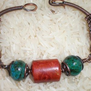 Apple Coral and Chrysocolla Bracelet