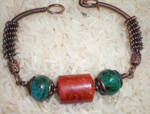 B003 Apple Coral and Chrysocolla Bracelet
