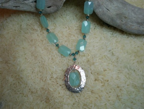 N003 Silver and Blue Quartz Necklace