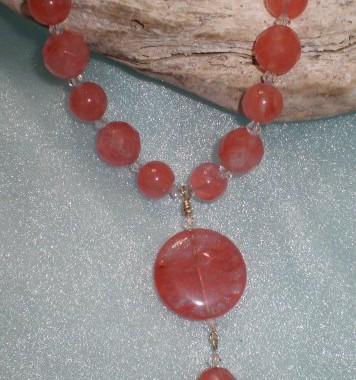 N012  Cherry Quartz Pendant