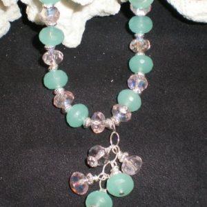 Aqua Colored Quartz Beaded Necklace