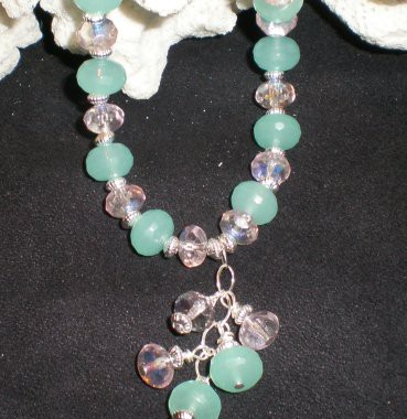 N013 Aqua Colored Quartz Beaded Necklace