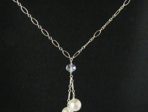 W001 – Sterling Silver chain,  Swarovski Crystal Bead, Swarovski Pearls