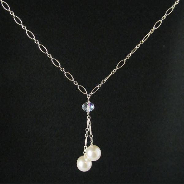 Sterling Silver chain, Swarovski Crystal Bead, Swarovski Pearls