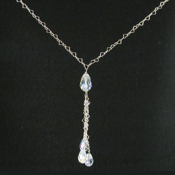 Delicate silver hearts, pear shaped crystal