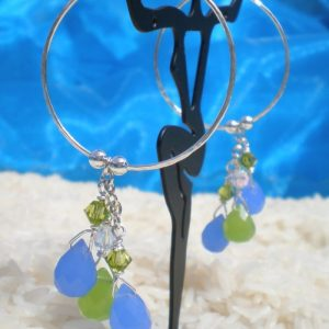 Silver hoops with embellishments